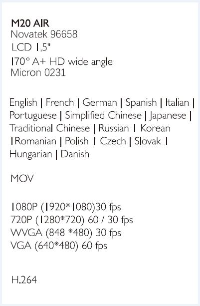 SJCAM M20 Air Specification